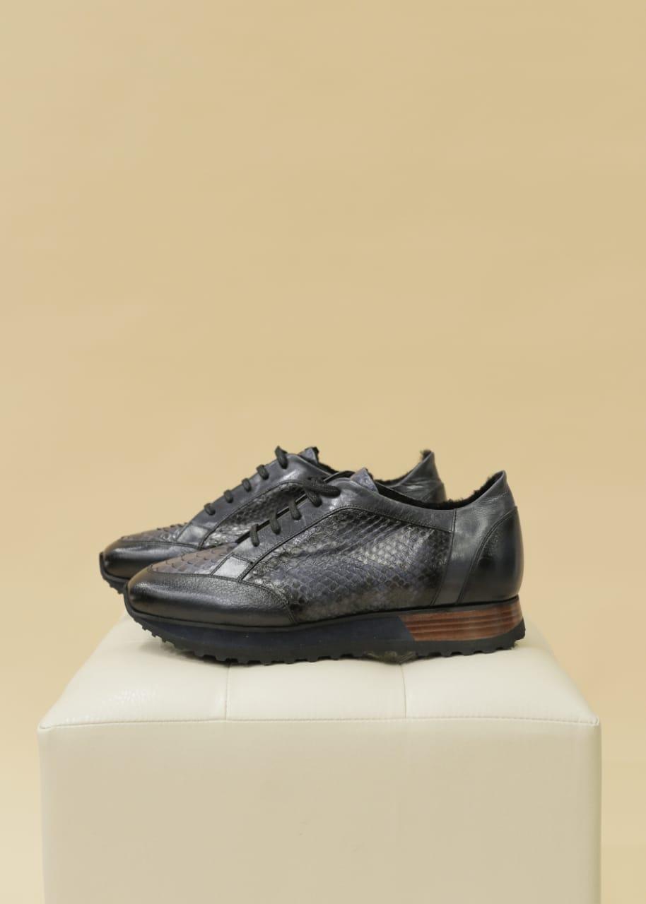 Кэжуал кроссовки (темно-синие, питон) - фото 2