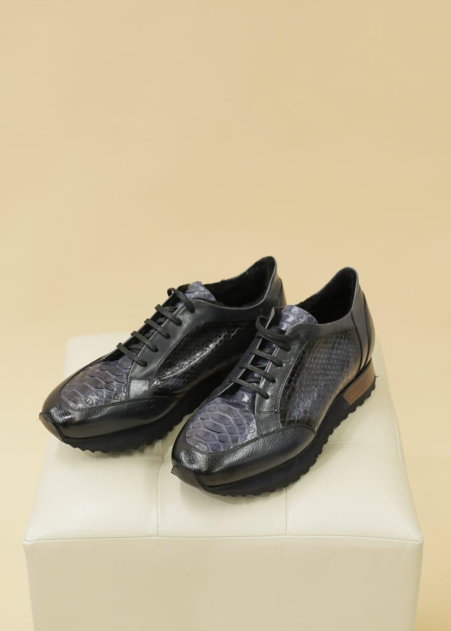 Кэжуал кроссовки (темно-синие, питон) - фото 1