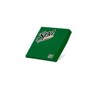Салфетки бумажные (24х24) 2сл краевое тиснение SPA Premium цвет праздничный зеленый 50 листов