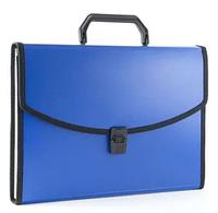 Папка-портфель БЮРОКРАТ, с ручкой 6 отделений, синяя