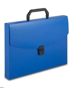 Папка-портфель БЮРОКРАТ, с ручкой 1 отделение, синяя