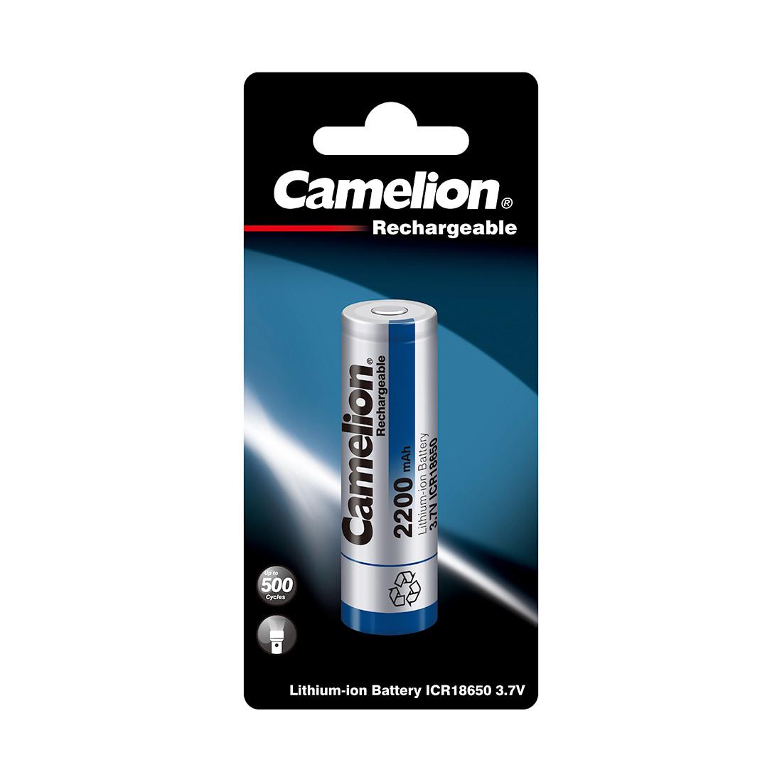 Аккумулятор CAMELION Lithium ICR18650F-22-BP 2200 mAh 1 шт. в блистере