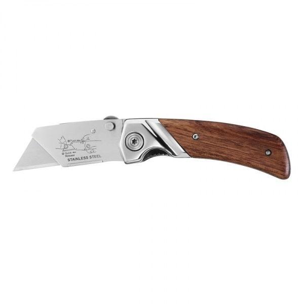 "Нож складной Stanley с деревянной рукояткой  19 мм 0-10-073 (STANLEY, 0-10-073, НОЖ СКЛАДНОЙ ""STANLEY FOLDING"