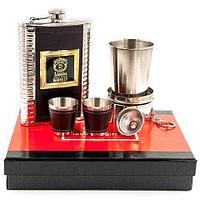 Набор для виски 6-в-1 в подарочной упаковке «Американский Бурбон» {фляжка, 2 рюмки, воронка, стакан}