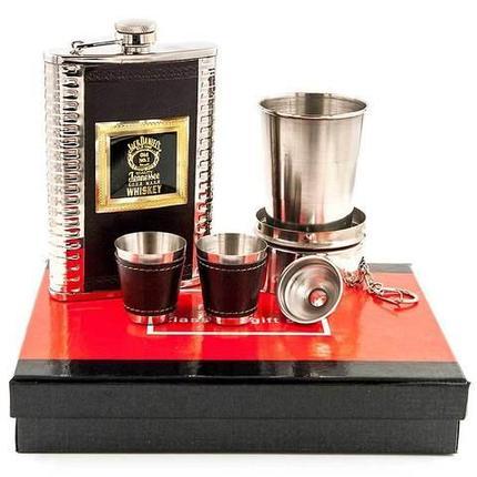 Набор для виски 6-в-1 в подарочной упаковке «Американский Бурбон» {фляжка, 2 рюмки, воронка, стакан}, фото 2
