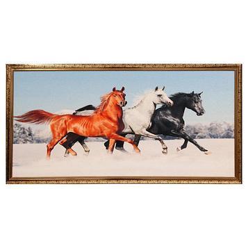"Гобеленовая картина ""Три коня"" 63*123 см рамка микс"