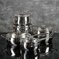 """Набор посуды """"Магнолия. Престиж"""" 5 предметов: кастрюли 2,5 л, 3,5 л, 4,5 л сковорода 3 л, ковш 1,2 л,"""