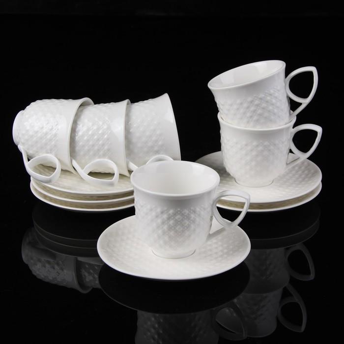"""Сервиз кофейный """"Циана"""", 12 предметов: 6 чашек 150 мл 11х8,5х6,9 см, 6 блюдец 14,3 см"""