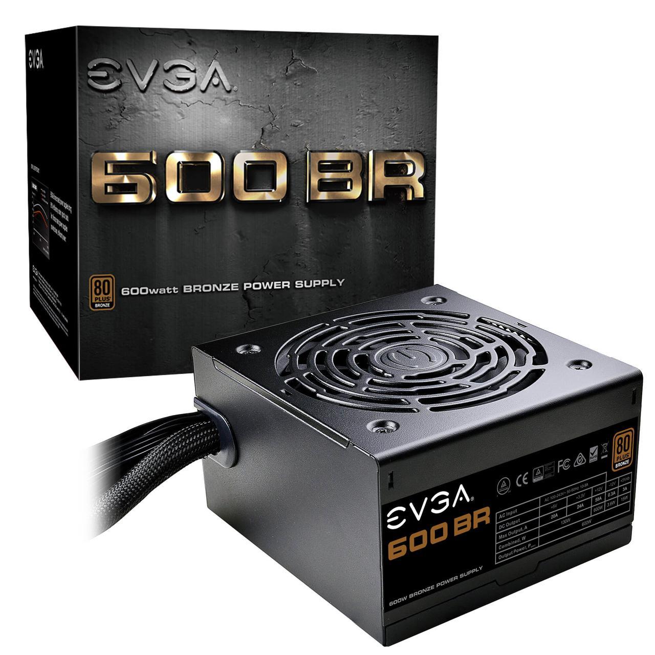 Блок питания ATX 600W EVGA 600 BR, Active PFC, вентилятор 12 см, 80+ BRONZE 100-BR-0600-K2
