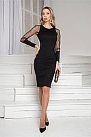 Женское осеннее шифоновое черное нарядное платье DoMira 01-421 черный 42р.