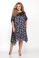 Женское осеннее шифоновое синее нарядное большого размера платье Sharm-Art 1052 50р.