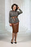 Женский осенний кожаный юбочный комплект Avanti Erika 1154 48р.