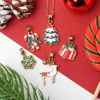 Кулон с 5 сменными подвесками 'Новогодняя сказка' ёлка, подвески МИКС, цветной в золоте