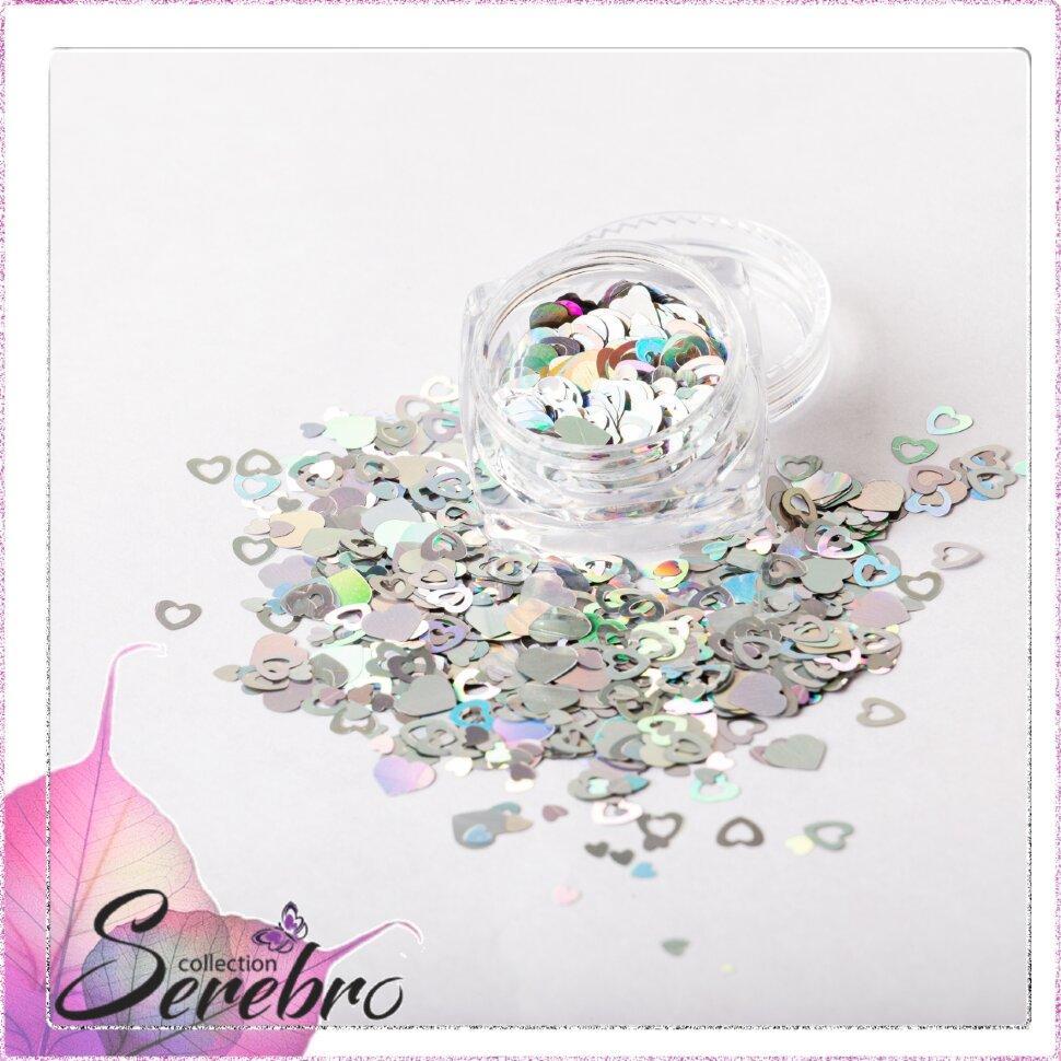 """Дизайн для ногтей """"Сердечки"""" """"Serebro collection"""""""