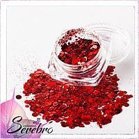 """Дизайн для ногтей """"Лазерный блеск"""" """"Serebro collection"""", цвет красный"""