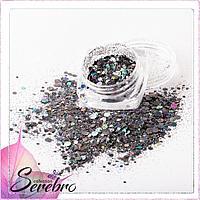 """Дизайн для ногтей """"Лазерный блеск"""" """"Serebro collection"""", цвет серый"""