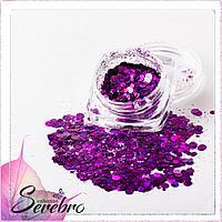 """Дизайн для ногтей """"Лазерный блеск"""" """"Serebro collection"""", цвет фиолетовый"""
