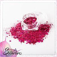 """Дизайн для ногтей """"Лазерный блеск"""" """"Serebro collection"""", цвет фуксия"""