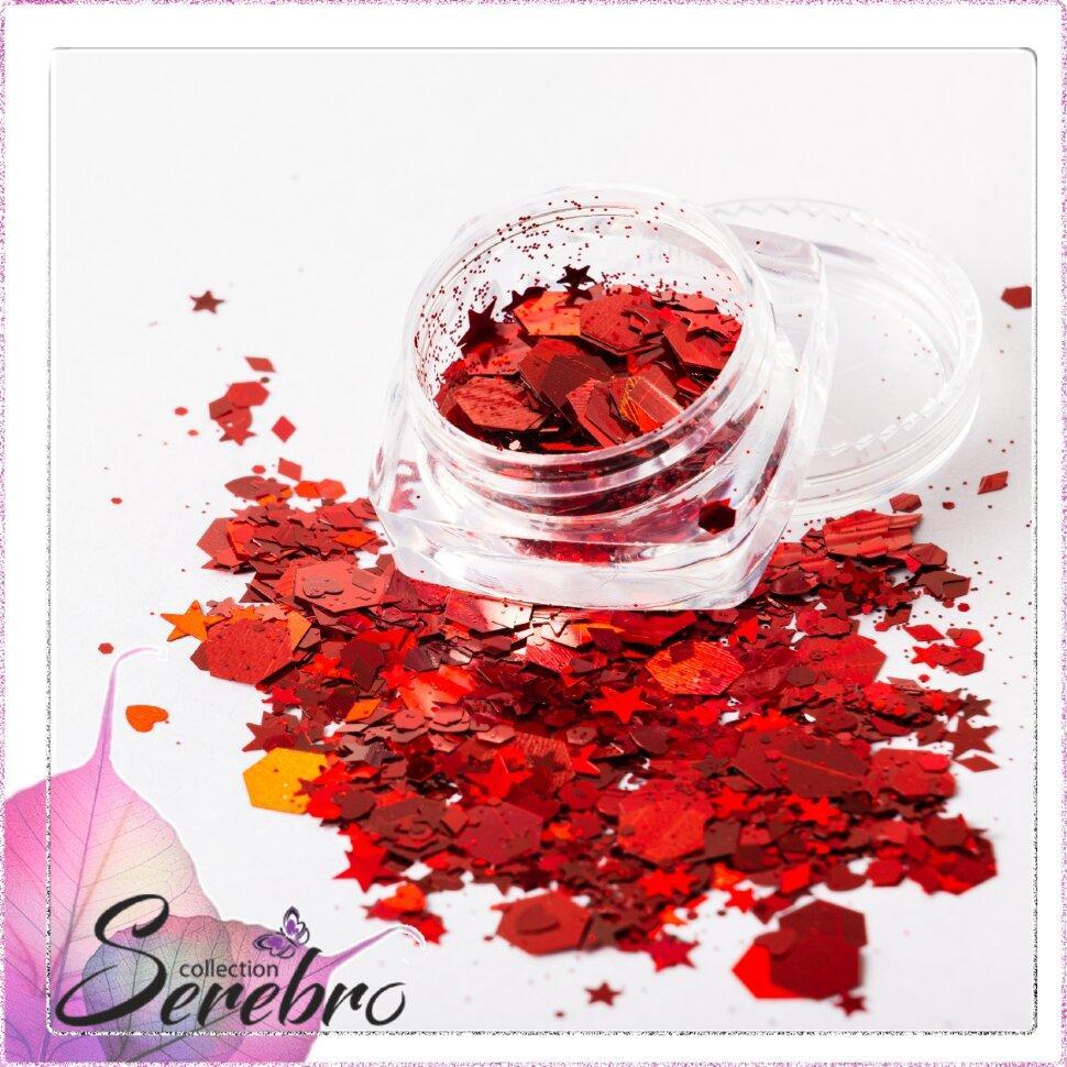 """Дизайн для ногтей """"Микс пайеток"""" №3 """"Serebro collection"""", цвет красный"""