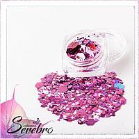 """Дизайн для ногтей """"Микс пайеток"""" №4 """"Serebro collection"""", цвет розовый"""
