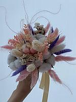 Букет из сухоцветов, нежный в розовых тонах, диаметр 15-20 см