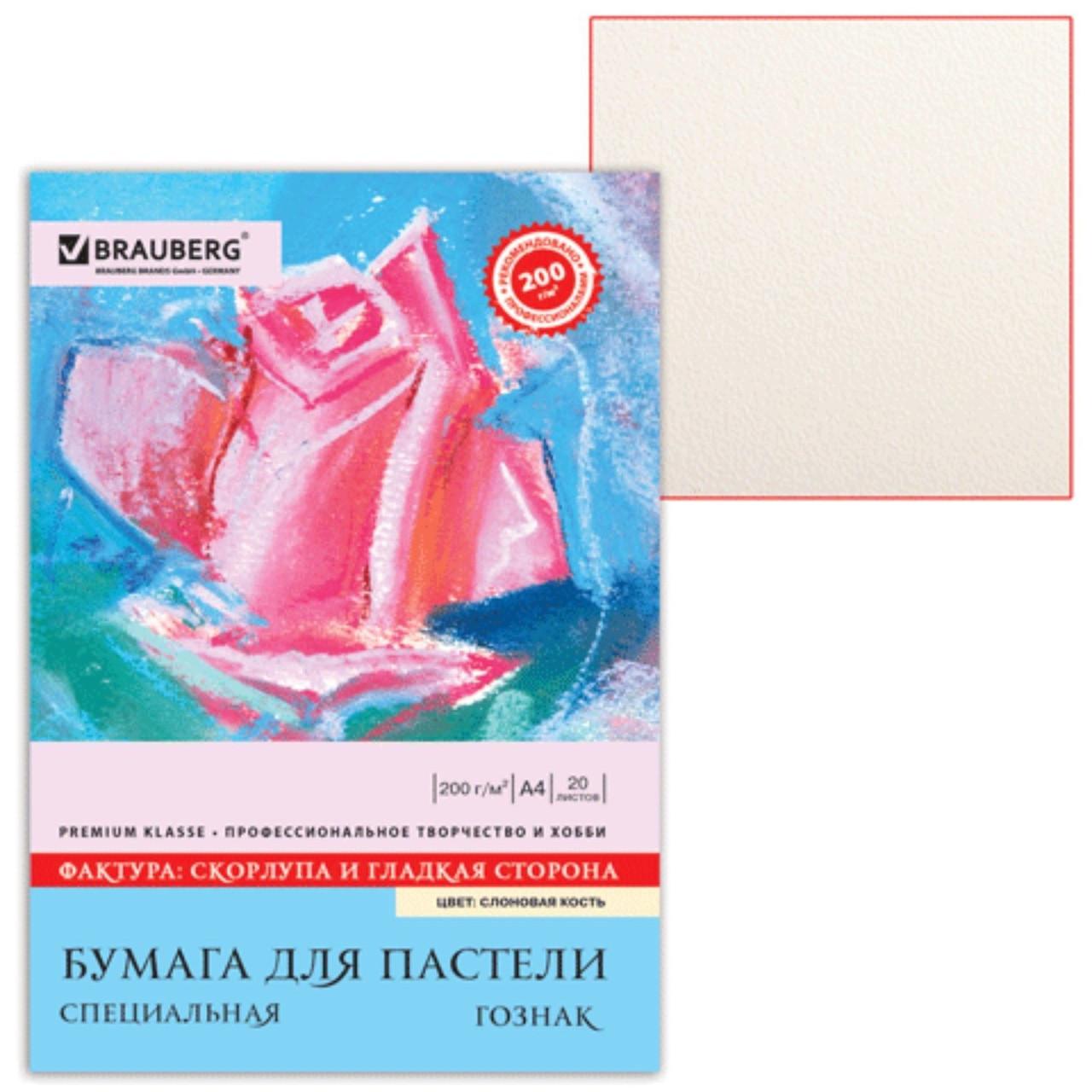 Папка для пастели А4, 210 х 297 мм, 20 листов, тонированная бумага, слоновая кость, ГОЗНАК «Скорлупа», 200г/м
