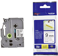 Лента TZe-S221, черным на белом, повышенной клейкости, для принтеров Brother PT 9700PC и пр.