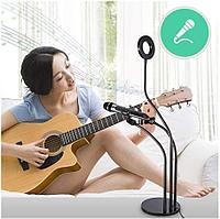 Гибкий держатель телефона-штатив, с держателем для микрофона с кольцевой лампой для блогеров (селфи лампа)