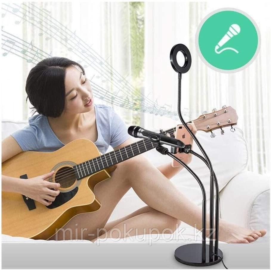 Гибкий держатель телефона-штатив, с держателем для микрофона с кольцевой лампой для блогеров (селфи лампа) - фото 1