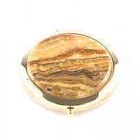 Карманное зеркальце из оникса круглое цвет золото