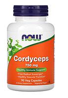 Now Foods, кордицепс, 750 мг, 90 растительных капсул