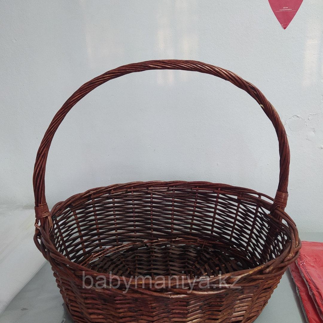 Корзина плетеная  из лозы Коричневая круглая 55 см