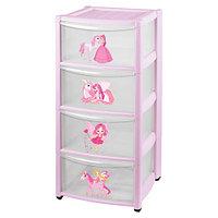 Детский пластиковый комод 4 ящика, розовый (Бытпласт, Россия)