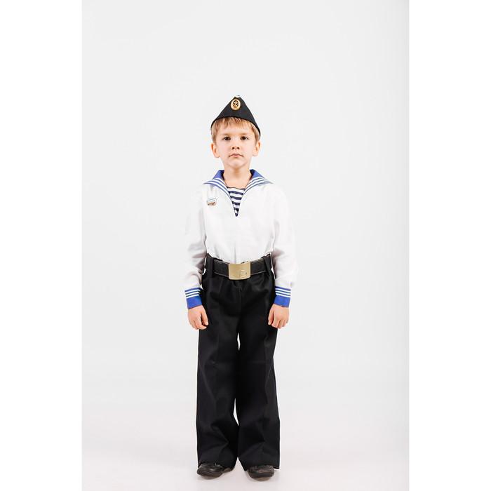 Костюм моряка: фланка, тельняшка, брюки, пилотка, ремень, рост 98 см