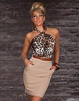 Платье карандаш тигрово-бежевое, с поясом