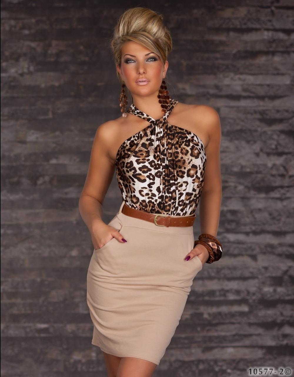 Платье карандаш тигрово-бежевое, с поясом - фото 1