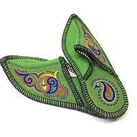 Тапочки из натурального войлока с казахскими орнаментами