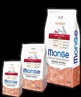 1563 Monge Speciality Line Mini Adult Salmone, Монже сухой корм для собак мелких пород, лосось и рис, уп.800гр