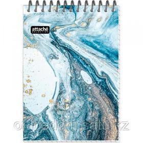 Блокнот на спирали Attache Selection Fluid, карт. обложка+УФ-лак, А6, 80 л., серо-голубой, клетка