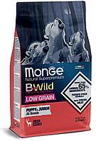 1853 Monge Bwild Dog, Монже низкозерновой корм для щенков всех пород с мясом оленя, уп.2,5кг.