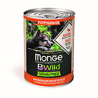 2607 Monge BWild GF, Puppy&Junior Anatra, влажный корм для щенков с уткой, банка 400гр.