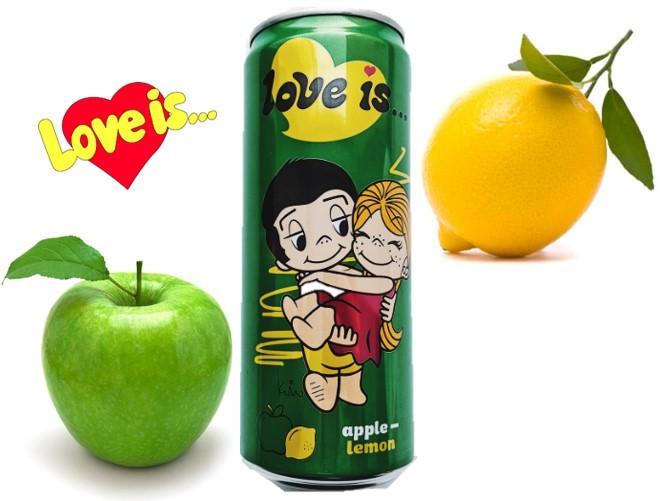 LOVE is Газ напиток яблоко -лимон (зеленый) 330ml /12шт-упак/