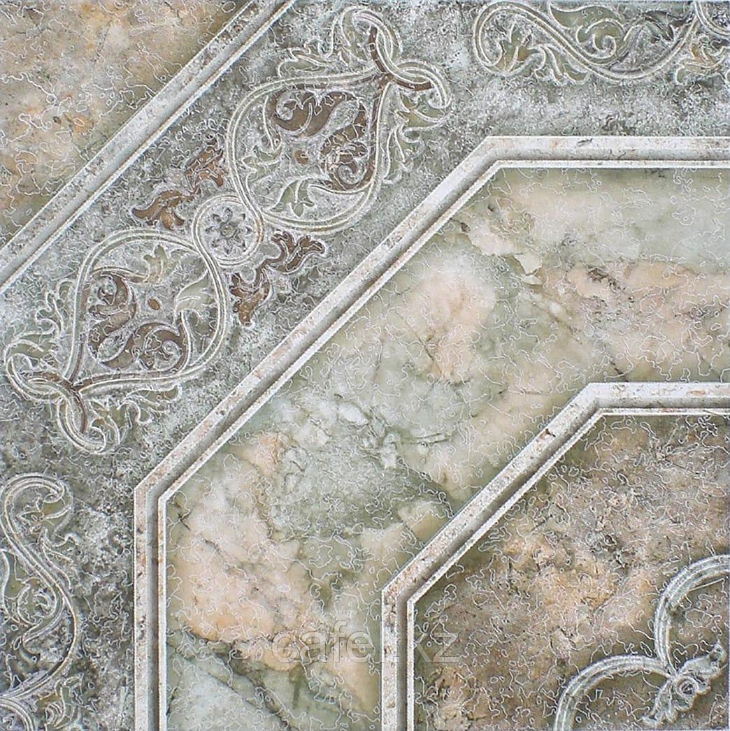 Керамогранит | плитка для пола 33х33 - Лаура | Laura орнамент зеленый
