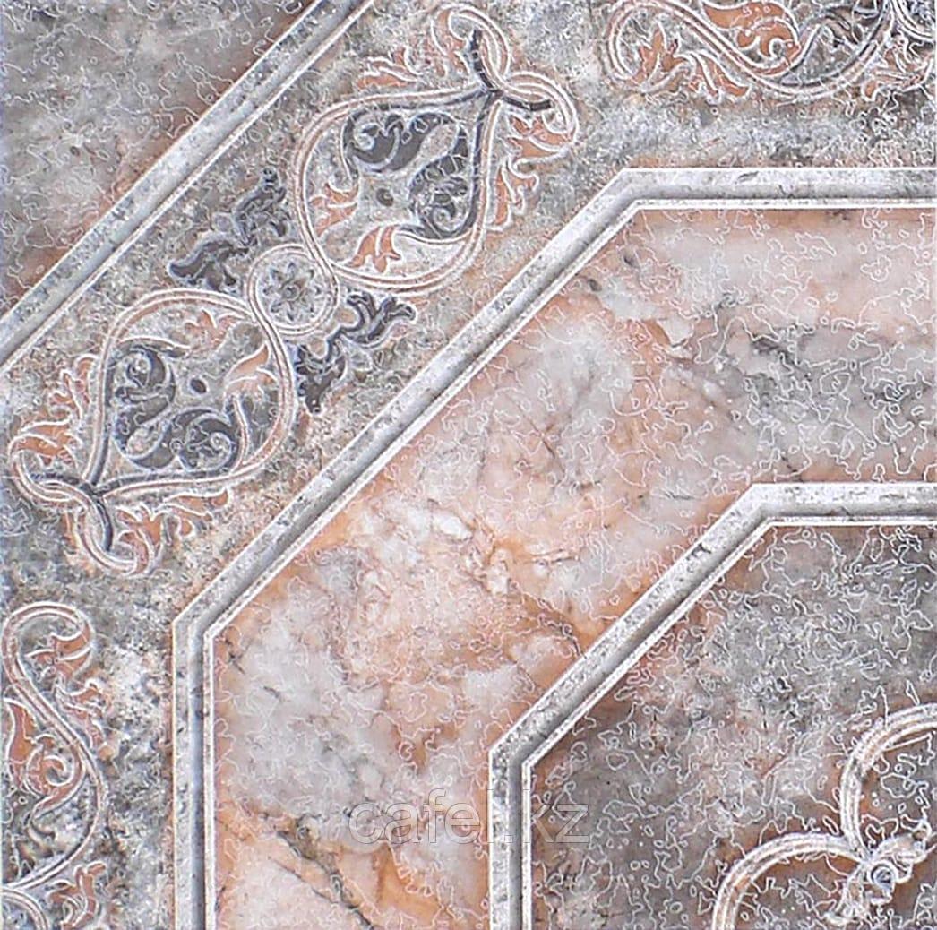 Керамогранит | плитка для пола 33х33 - Лаура | Laura орнамент коричневый