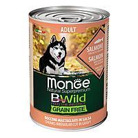 2621 Monge BWild GF, All Bread Adult Salmon, влажный корм для взрослых собак всех пород с лососем, банка 400гр