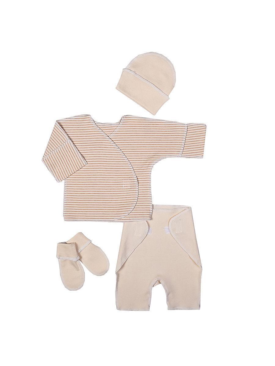 Комплект для новорожденного БИМОША Распашонка + Ползунки + Шапочка + Пинетки р.46 ПОЛОСКА