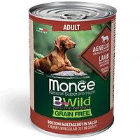 2614 Monge BWild GF, All Bread Adult Lamb, влажный корм для взрослых собак всех пород с ягнёнком, банка 400гр.