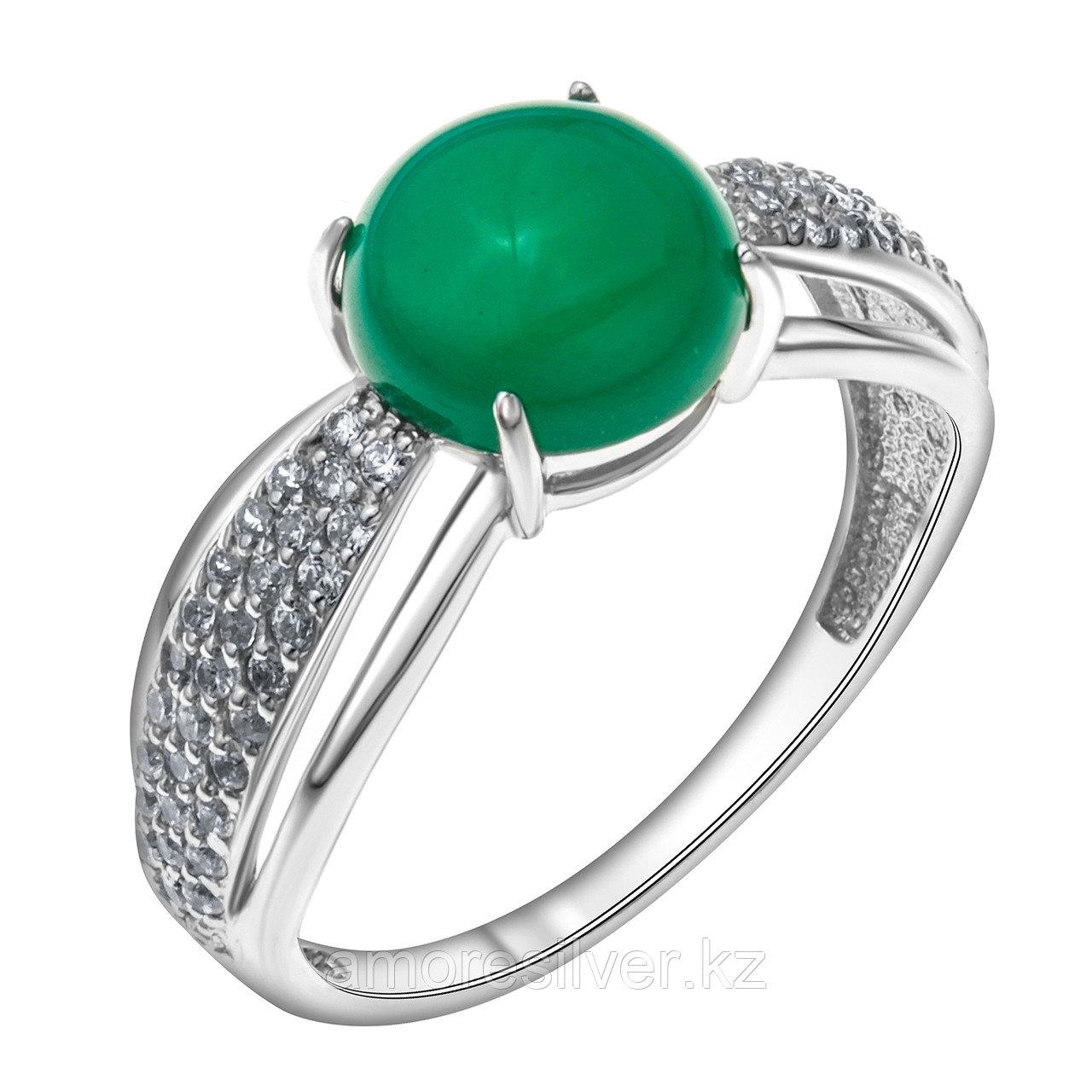 Кольцо MASKOM серебро с родием, агат зеленый фианит синт., круг 100-1365-GR размеры - 17