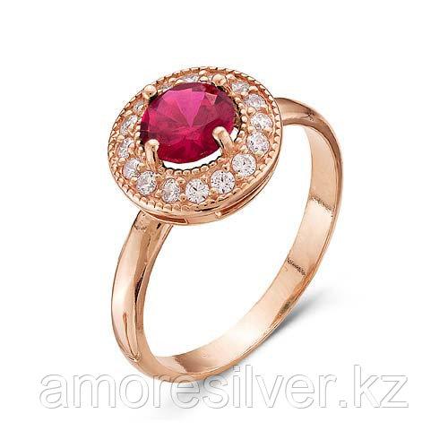 """Кольцо Красная пресня серебро с позолотой, фианит цветной, """"halo"""" 2386519-8 размеры - 16,5"""