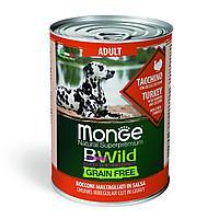 2645 Monge BWild GF, All Bread Adult Turkey, влажный корм для взрослых собак всех пород, индейка, банка 400гр.